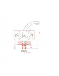 Agger Retro A1901100 - Двухзахватный смеситель для кухни с поворотным изливом, хром