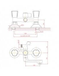 Agger Retro-R A2021200 - смеситель для ванной с коротким поворотным изливом и душевым набором, хром