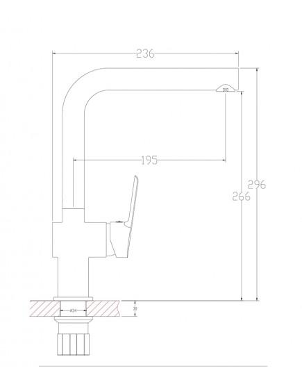 Agger Strong A1400100 - Однозахватный смеситель для кухни с поворотным изливом, хром