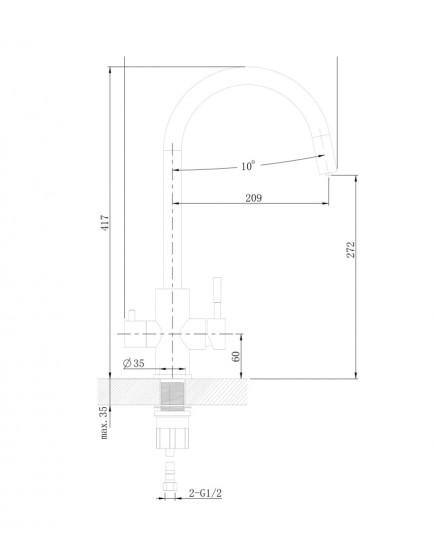 Agger Zest A0700700 - смеситель для кухни с фильтром и поворотным изливом, хром