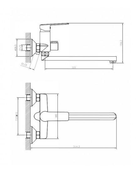 Agger Clean A2421100 - Однозахватный смеситель для ванны с душем и длинным поворотным изливом, хром