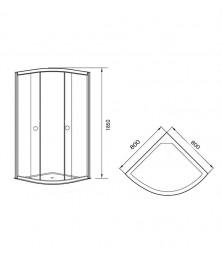 Agger A01-080TCR/G - душевой уголок с прозрачным стеклом без поддона 80х80х185