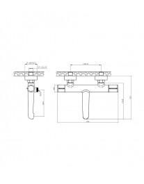Agger Slim A2210000 - Однозахватный смеситель для ванной с коротким изливом, хром
