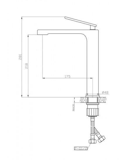 Agger Beauty A2612100 - смеситель высокий для накладной раковины, хром
