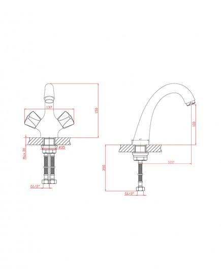 Agger Retro-S A1802100 - Двухзахватный смеситель для раковины, хром
