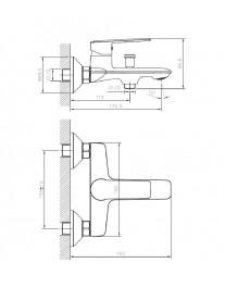Agger Clean A2410000 - однозахватный ванно/душевой смеситель с коротким изливом, хром