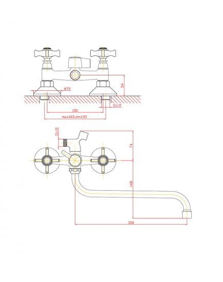 Agger Retro-X A1722200 - Двухзахватный смеситель для ванны с душем и длинным поворотным изливом, хром