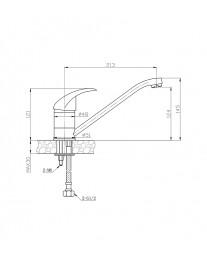 Agger Proud A0800000 - Однозахватный смеситель для кухни с длинным поворотным изливом, хром