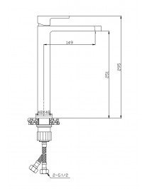 Agger Great A2812111 - смеситель высокий для накладной раковины, хром
