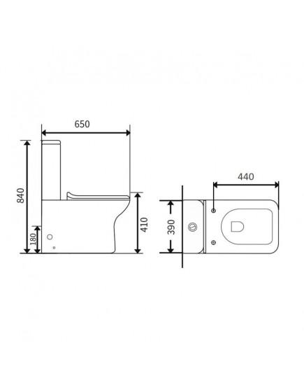 Agger AT02000 - Напольный унитаз-компакт безободковый, пристенный с горизонтальным выпуском