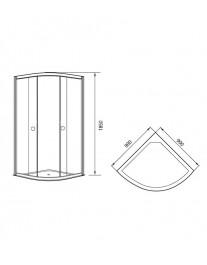 Agger A01-090TCR/G - душевой уголок с прозрачным стеклом без поддона 90х90х185
