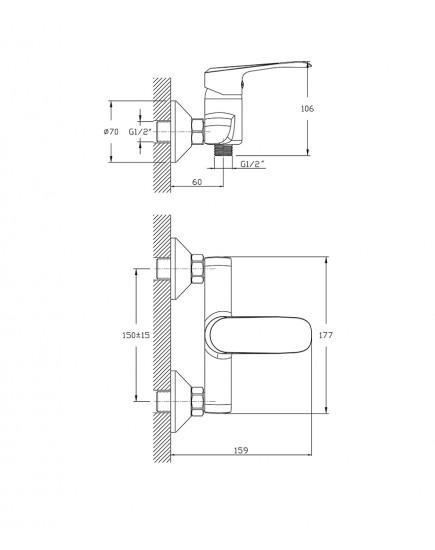 Agger Glorious A1220000 - Однозахватный смеситель для ванны без излива, хром