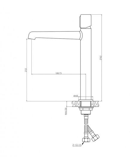 Agger Slim A2212100 - смеситель высокий для накладной раковины, хром
