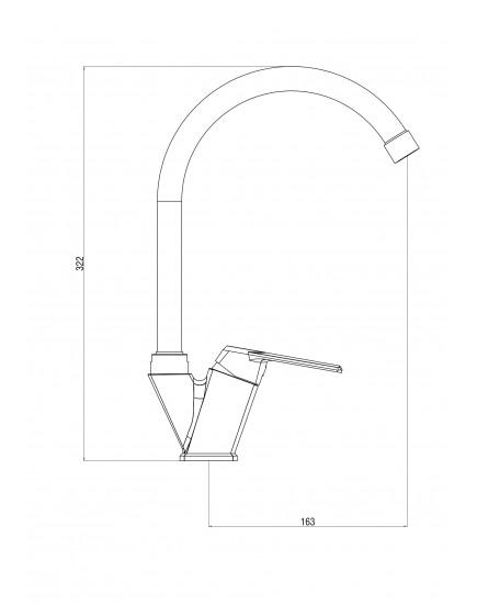 OneLife P02-000cr Полимерный смеситель для кухни
