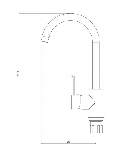 OneLife P04-001cr Полимерный смеситель для кухни