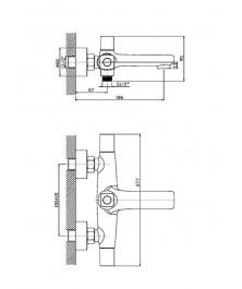 Orange Fenix M32-100cr ванно/душевой двухзахватный смеситель с душевыми аксесуарами