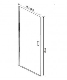 Orange E05-090TB/D Душевая дверь распашная универсальная 90х190 см